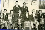 Harold Garver and F.F.A. boys with F.F.A. symbols and banners circa 1950