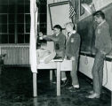 "F.F.A. boys participating in a ""stunt"" at a night meeting in 1954"