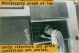 Jack Meyers writing on a chalk board in the Shawnee Mission High School circa 1950