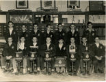 Group photo of Harold Garver and F.F.A. boys circa 1950