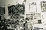 Christmas decorations and items for F.F.A. charity drive in a classroom circa 1951